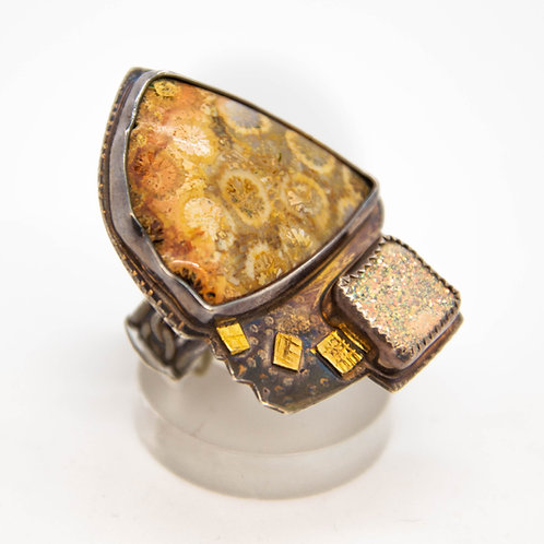 Drusy & Coral Fossil Ring