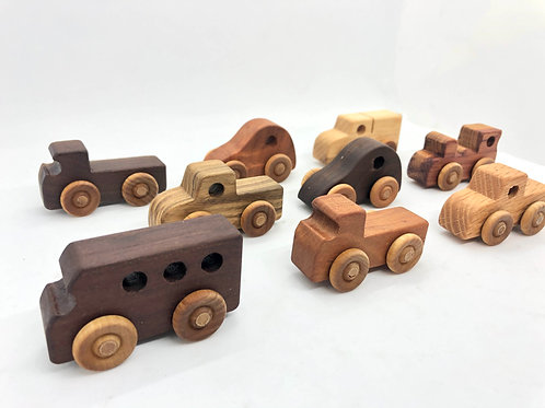 Miniature Wooden Vehicle Toys - Set of 3