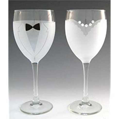 Bride & Groom Wine Glasses (Pair)