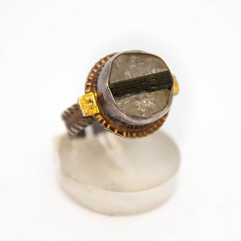 Tourmaline in Quartz Ring