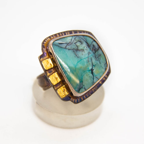 Blue Opal in Petrified Wood Ring