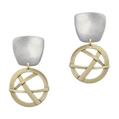 Tapered Square W/Woven Disc CLIP Earrings