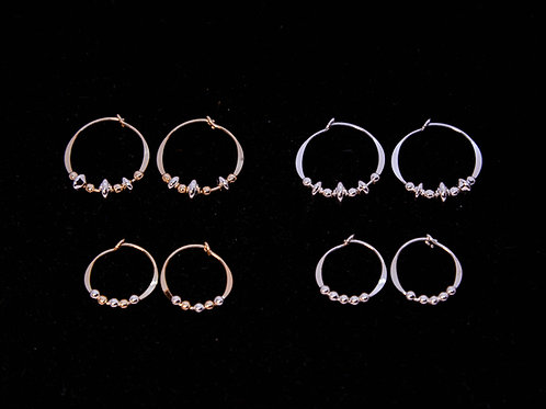 Small Gold Filled & Sterling Silver Bead Hoop Earrings