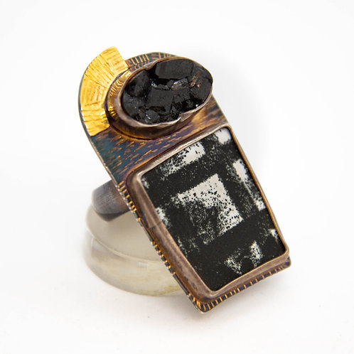 Enamel & Garnet Ring