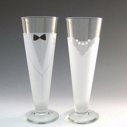 Bride & Groom Wine Glasses (Pair)