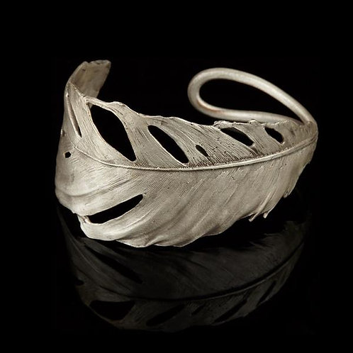 Feather Cuff with Silver Finish