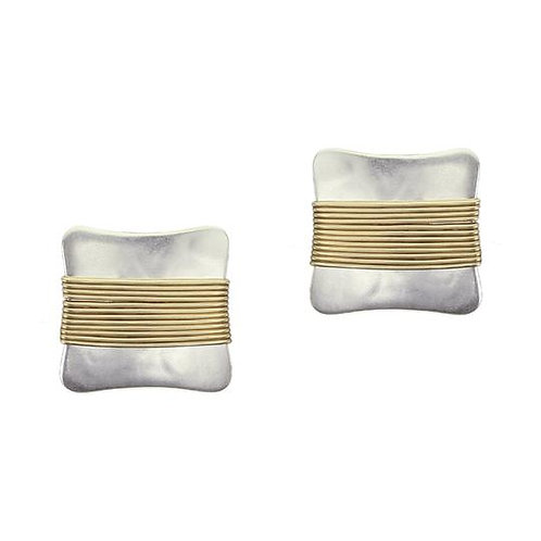 Rounded Square W/Wire Wrap CLIP Earrings