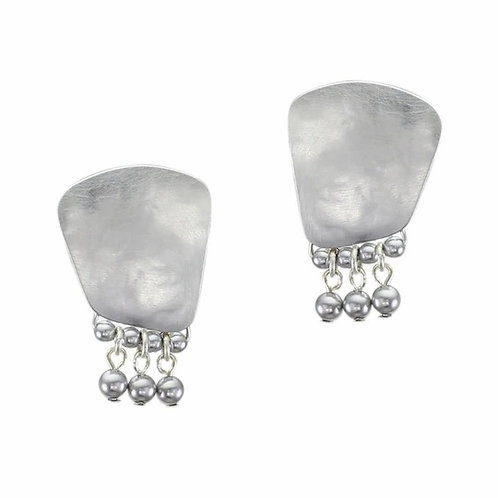 Silver Trapezoid with Grey Pearls CLIP Earring