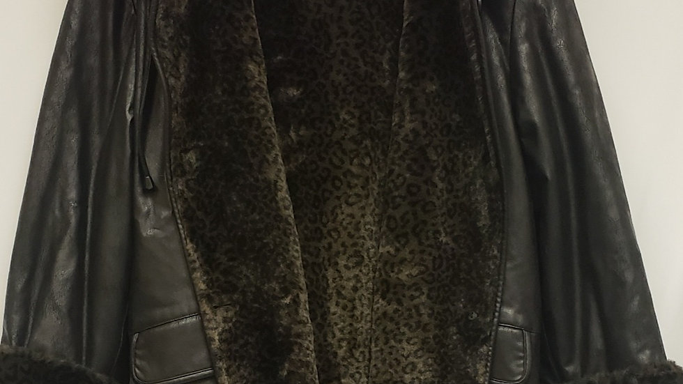 Faux Black Leather with Faux Leopard Print Fur