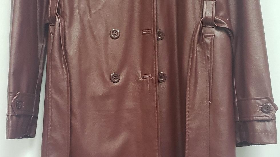 Burgundy Long Faux Leather Jacket