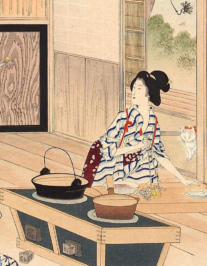 Cuisine japon Estampe de MIZUNO Toshikata 水野 年方 (1866 - 1908)