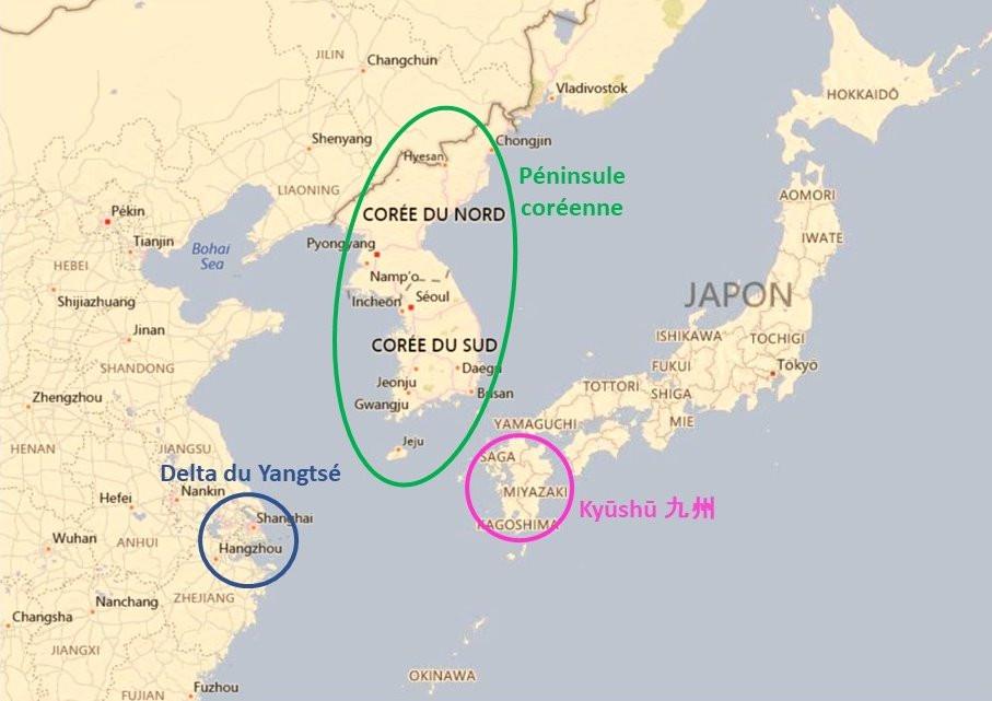 Delta du Yangtsé, Péninsule coréenne, Kyûshû Japon