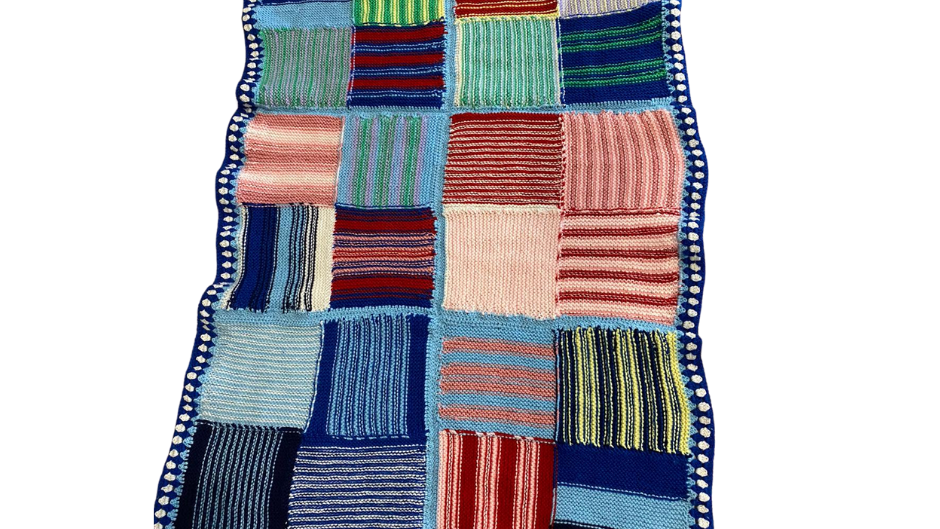 Pure Wool Baby's Blanket - Multicoloured Stripes