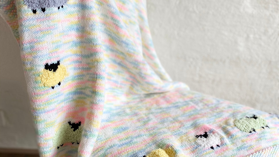 109 Pure Wool Baby's Blanket - Multi-coloured with sheep motif