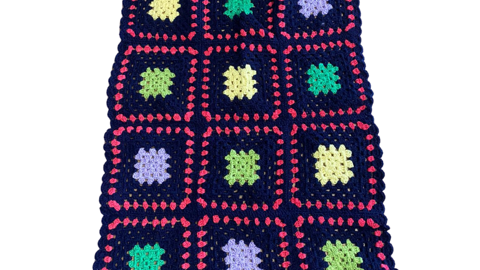 Pure Wool Baby's Blanket - Multicoloured Squares