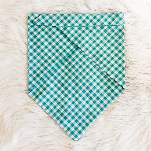 Teal Gingham Personalized Bandana
