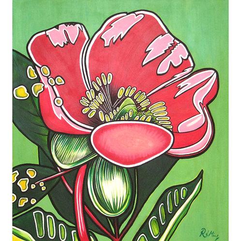 Pink tulip on green
