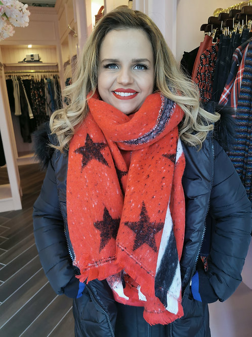 Star Scarf Red