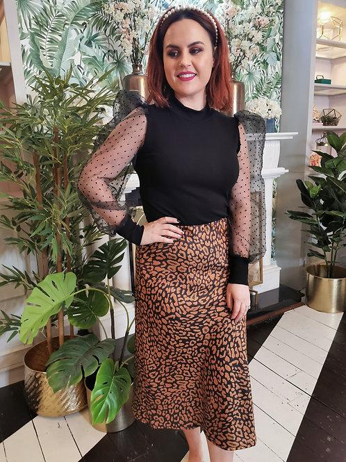 Tan Leopard Print Skirt