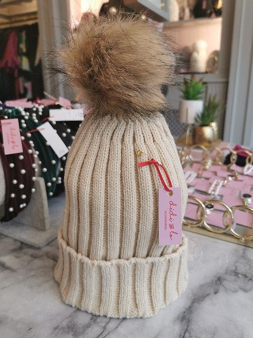 Beige Faux Fur Pom Hat