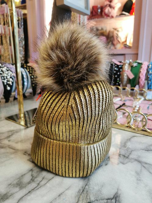 Gold Metallic Faux Fur Pom Hat