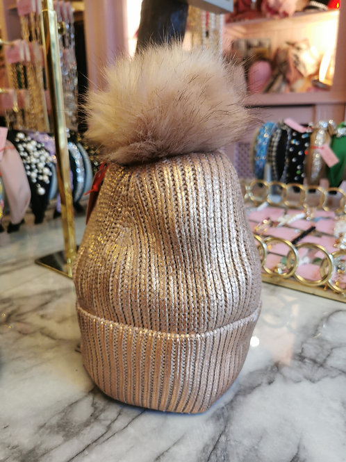 Pink Metallic Faux Fur Pom Hat
