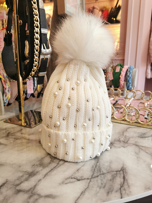 Pearl Faux Fur Pom Hat Cream