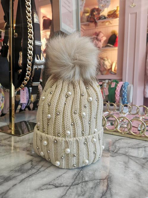 Pearl Faux Fur Pom Hat Beige