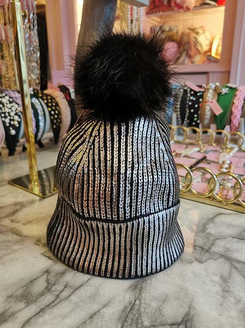 Black/Silver Metallic Faux Fur Pom Hat
