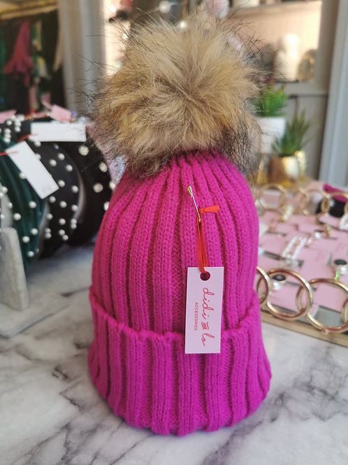 Hot Pink Faux Fur Pom Hat