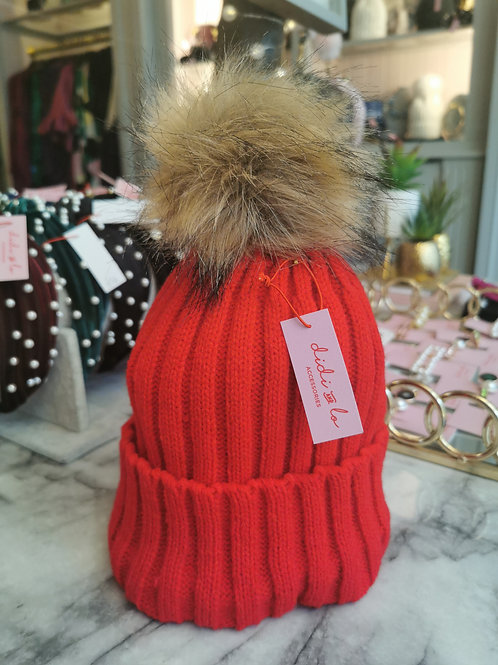 Red Faux Fur Pom Hat