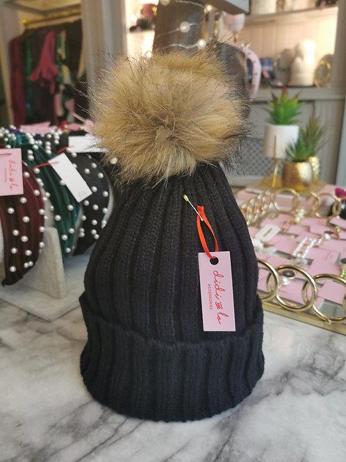 Black Faux Fur Pom Hat