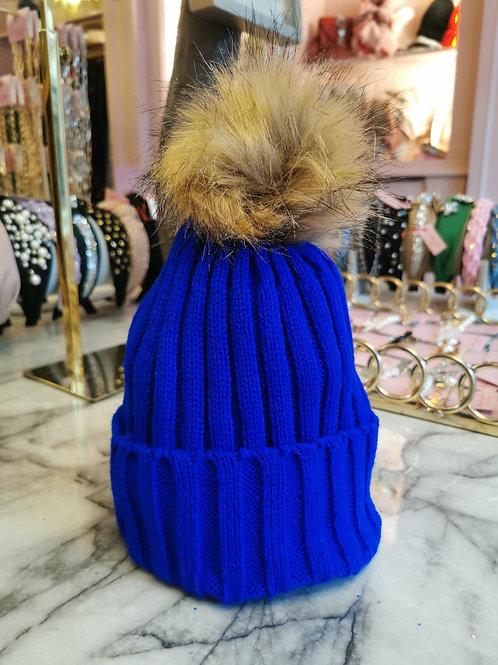 Blue Faux Fur Pom Hat