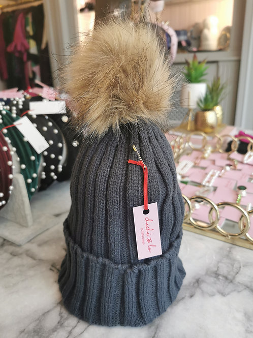 Dark Grey Faux Fur Pom Hat
