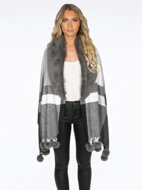 Celine Faux Fur Collar Shawl Grey