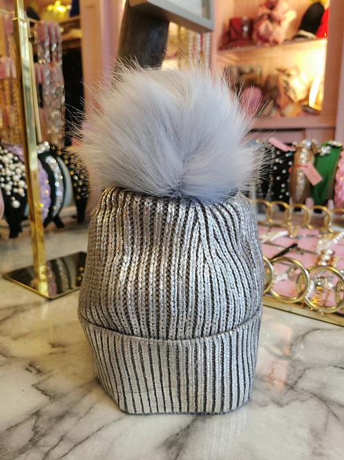 Silver Metallic Faux Fur Pom Hat