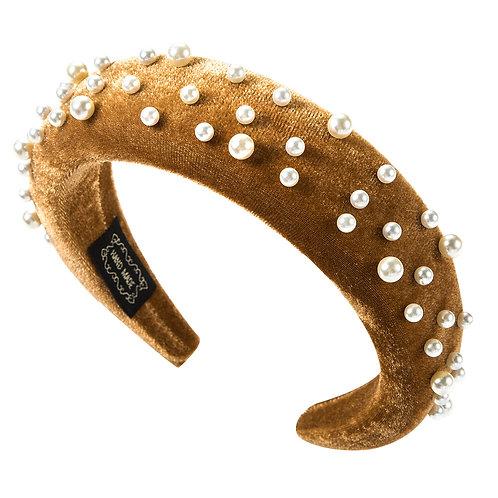 Pearl Headband Tan