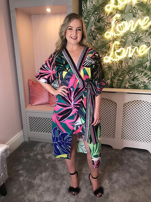 Botanical faux wrap dress