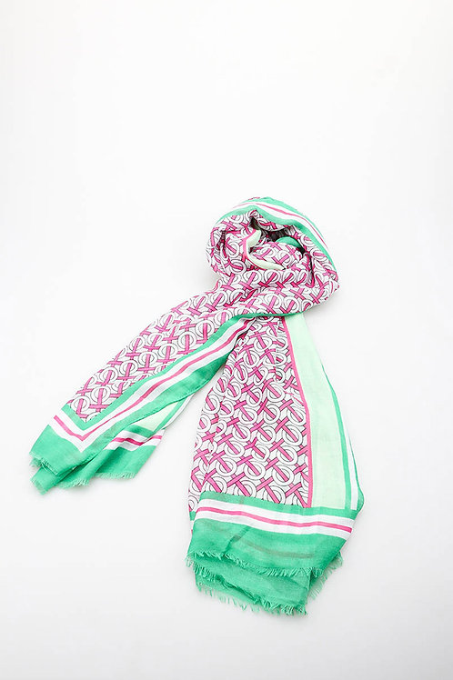 Noughts and Crosses Scarf Green