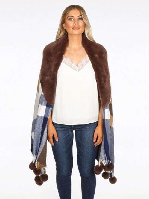 Celine Faux Fur Collar Shawl Brown