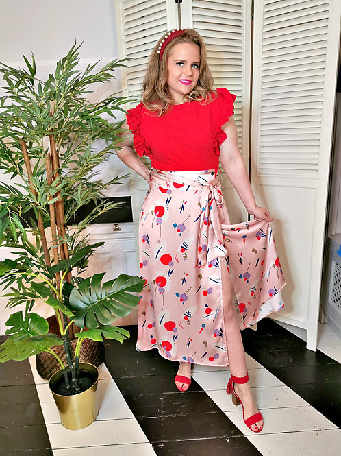 Floral Wrap Skirt Pink