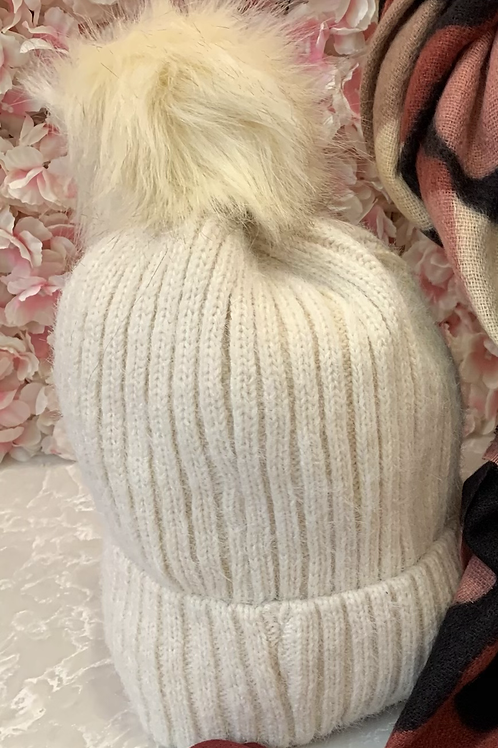 Cream Faux Fur Pom Hat