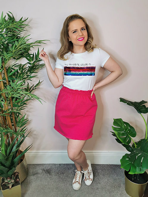 Denim Skirt Pink