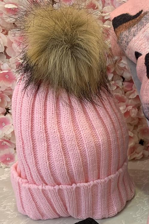 Pale Pink Faux Fur Pom Hat