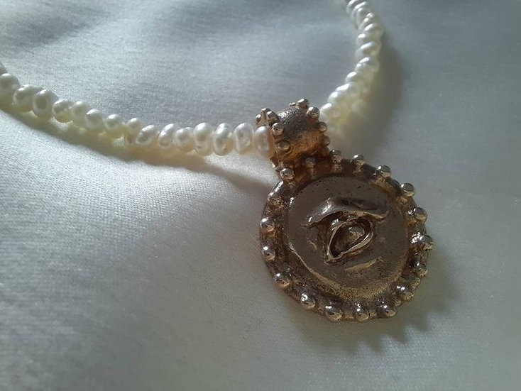 Victorian Pearl choker with bronze lover's eye