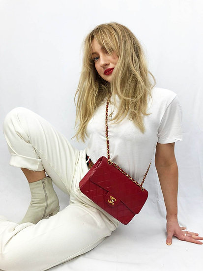 Vintage Chanel 2.55 Small Double Flap (Red)