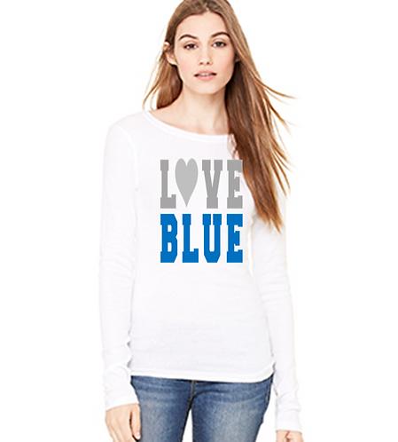 Love Blue Sheer Long Sleeve Tee