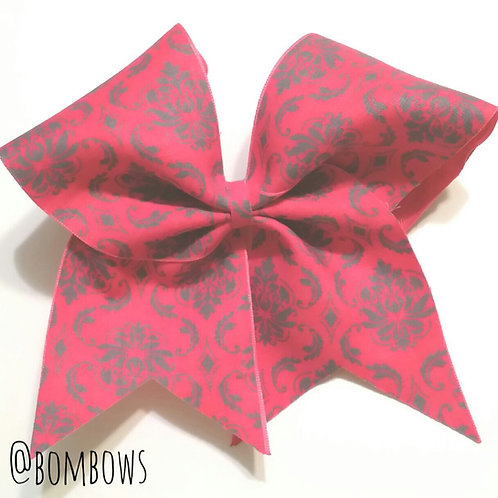 Pink & Grey Damask Bow