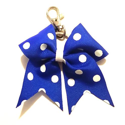 Royal Blue Polka Dot Key Chain Bow