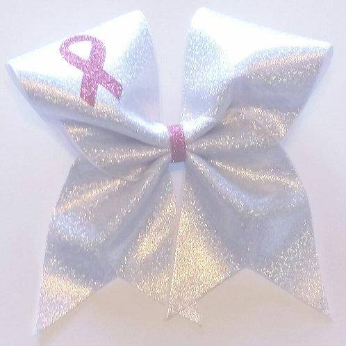 White Pink Ribbon Bow